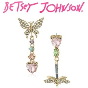 Betsey Johnson Heart Dragonfly Dangle Earrings